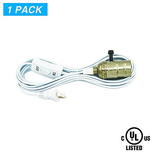 Haodude E26/E27 Lamp Socket,15Ft,Extension Hanging Lantern Cord Cable,Pendant Light Holder,UL Listed On/Off Button AC Power Plugs,Pack of 1