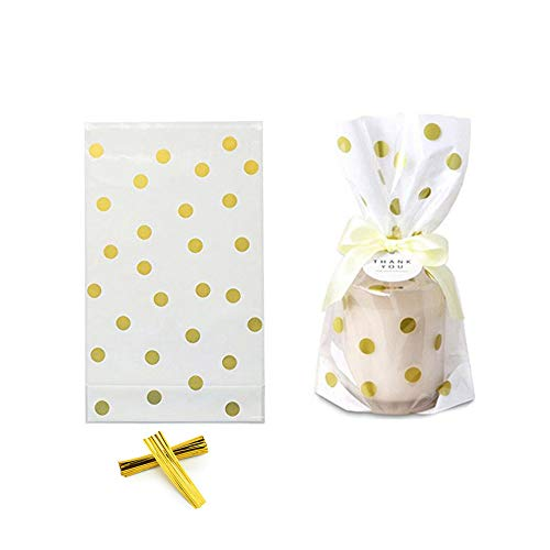 100 Pack Clear Cello Bags with Candy Cookie Bags 10 x 6 x 2.5 inch Clear Plastic Treat Bags Gold Polka Dot Candy Bags for Cookie Candy Snack Wrapping Party Favor with Gold Twist Ties ()