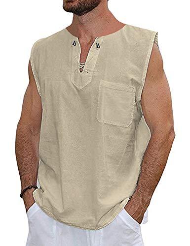 COOFANDY Mens Fashion T Shirt Cotton Tee Hippie Shirts Short Sleeve Beach - Sleeveless Tee Cotton