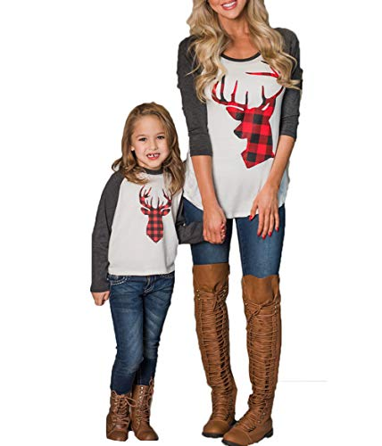Mommy and Me Fashion Deer Print Long Sleeve T Shirt Blouse Tops Matching Family Clothes (S, for Mom) ()