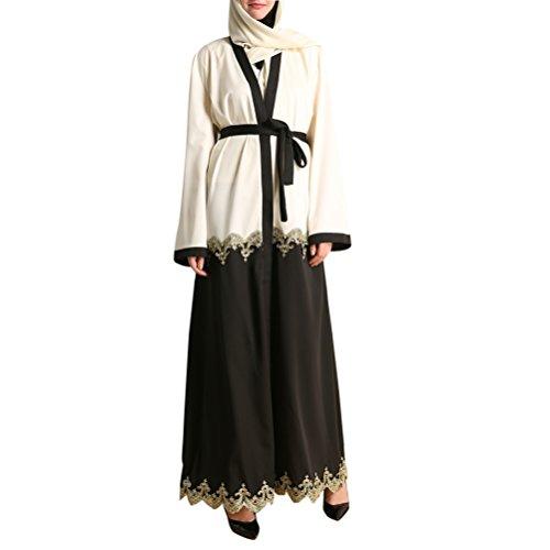 論理的に技術的な遮るZhhlaixing 柔らかい Lace Stitching Middle East Dress Muslims Arab Robes Casual Dresses for レディース Long Sleeve
