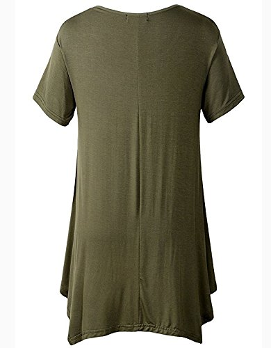Fit T Shirt Swing Tops Manches Couleur Femme Lache Taille T de 1 Tunic Soie Vert Shirt Comfy Longue Loose Pure Affaires Grande Flattering Mousseline Femme Blouse Blouse Chemise O7waUqnCxR