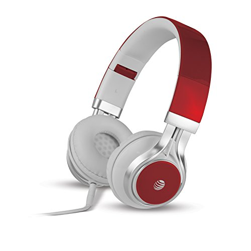 AT&T HPM10 Jive Headphones with In-Line Microphone, Red