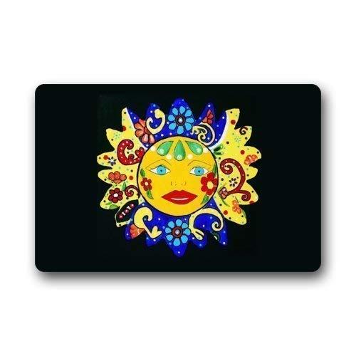 SPEEON Bath Rugs/Mats Indian Sun Talavera Sun Door Mat Durable Heat-Resistant Non-Woven Fabric Top Doormat 23.6