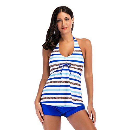 Women Sequins Striped Print Bikini Sets Two Piece Swimsuits Swimwear Beach Suit (Square Cut Trunk Print)