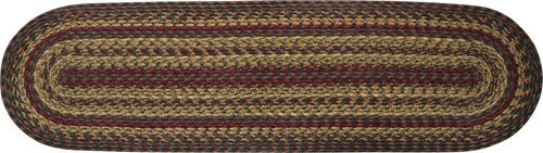 Cinnamon Collection Braided Natural Jute Runner Red Tan Green Brown Country Primitive Décor