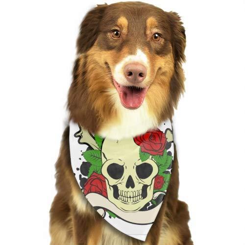 (PANQJN Skull Tatoo Summer Pineapple Pattern Triangle Pet Scarf Dog Bandana Pet Collars for Dog Cat One Size)