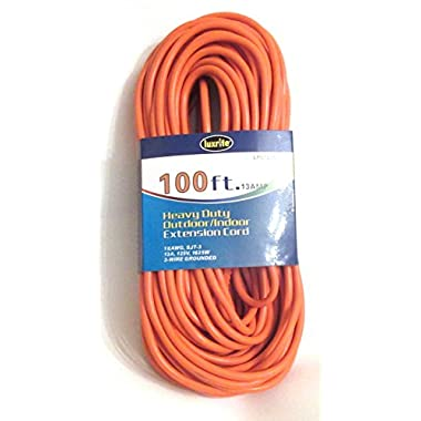 Luxrite Lr61206 Heavy Duty Indoor/outdoor 16/3 3-wire Grounded 100-feet Extension Cord, for General & Larger Purposes, Color Orange, ETL Approved