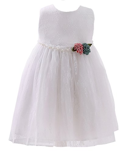 Dillards Dresses For Kids (Abaosisters Little Girl Lace Embroidery Flower Dress Graduation Prom Frock White 6-7 yrs)