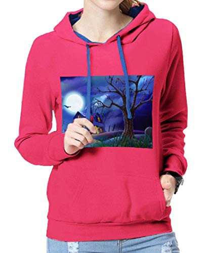 Tootless-Women Longline Relaxed-Fit Halloween Costume Juniors Hoodies Rose Red M ()