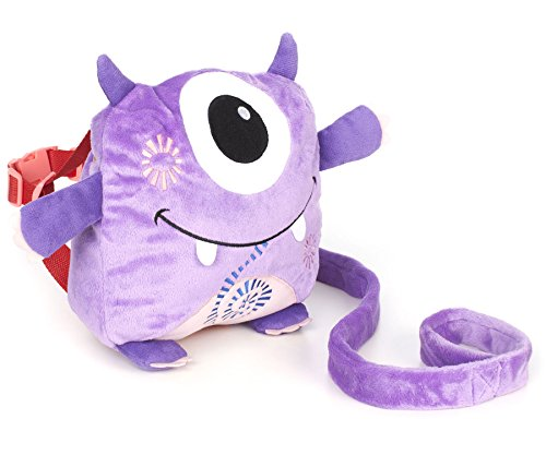 Nuby Plush Baby Backpack with Safety Harness, Purple Monster