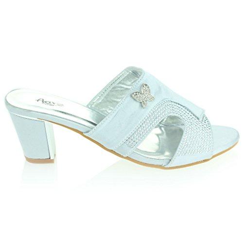 Mujer Señoras Broche Detalle Diamante Ponerse Tacón de Bloque Noche Casual Boda Fiesta Sandalias Zapatos Tamaño Plata