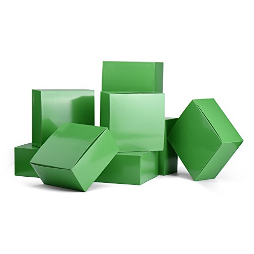 MESHA Gift Boxes 10 Pack 8 x 8 x 4 Inches, Green Paper Gift Boxes with Lids for Gifts, Crafting, Cupcake Boxes
