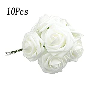 10pcs Classic White Purple Pink Lvory Beige Rose Flowers for Wedding Bridesmaid Bridal Bouquet (White 01) 28