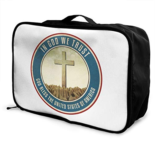 Cross In God We Trust Logo Lightweight Large Capacity Portable Luggage Bag Fashion Travel Duffel Bag