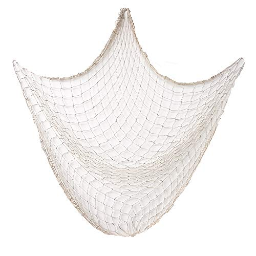 Szsrcywd Natural Fishing Net, Creamy White Nautical Wall Decor for Family Decoration,Beach Theme Party Wedding Decoration,Nautical Theme Cotton Fishing Net Party
