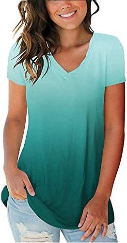 Damska letnia modna koszulka z krÓtkim rękawem, dekolt w szpic, gradientowa koszulka na lato luźna koszulka: Odzież