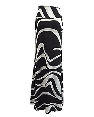 Mrotrida Women's Fashion Striped Long Skirt Maxi High Waist Floor-Length Skirt