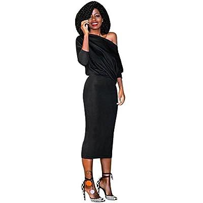 Ankola Dresses, Women Fashion One Off Shoulder Bodycon Long Sleeve Midi Shift Dress Cocktail Party Dress