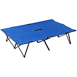 "Outsunny 76"" Two Person Double Wide Folding Camping Cot - Blue"