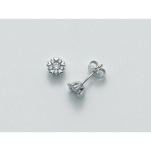 Boucles d'oreilles MILUNA les Parure diamant Basico erd1788-008S or blanc diamant