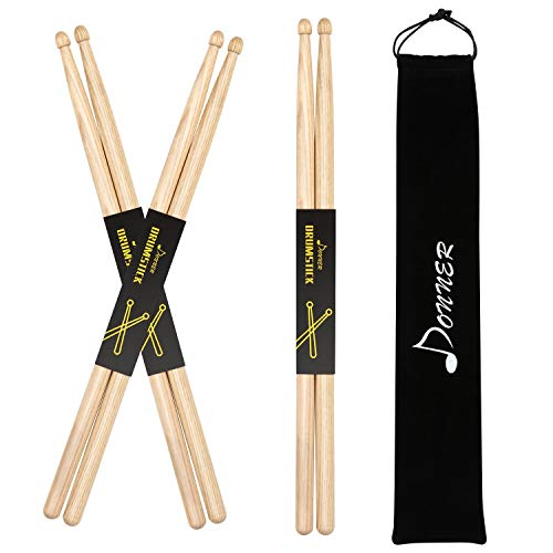 Donner Snare Drum Sticks 7A Classic Hickory Wood Drumsticks 3 Pair Natural with Carrying Bag for Kids