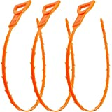 Verigle Remover 3 Pack Clog, Hair, 20 Inch Snake Drain Relief Cleaner Tool Sink, Tube Cleaning, Orange