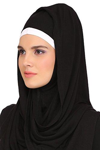 MyBatua Black Jersey & White Kashibo Vêtements de loisirs & de mode Muslim Abaya Maxi AY-513