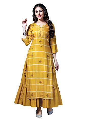 Ladyline Rayon 2 Pc Kurti Set with Embroidery Rich Womens Kurta Tunic top Indian Dress (Size_40/ Mustard)