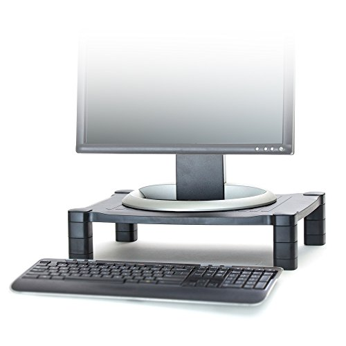 Mind Reader Adjustable Monitor Stand Riser for Computer, Laptop, Desk, iMac, (Black Plastic Desktop)