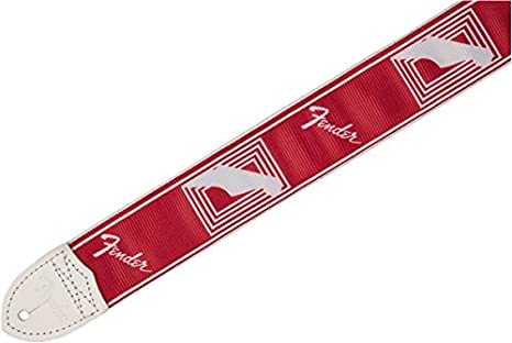 0990627009 Fender 2 Monogrammed Guitar Strap-Candy Apple Red