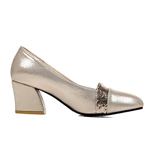Low Uppers Pumps Sequin Cut Leather Imitated Gold BalaMasa Heels Shoes Chunky Womens qCYwIIx7A