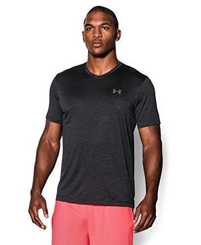 Under Armour Men's Tech V-Neck T-Shirt, Black/Steel, Medium