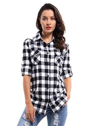 OCHENTA Women's Long Sleeve Plaid Flannel Shirt D055 Black White S -