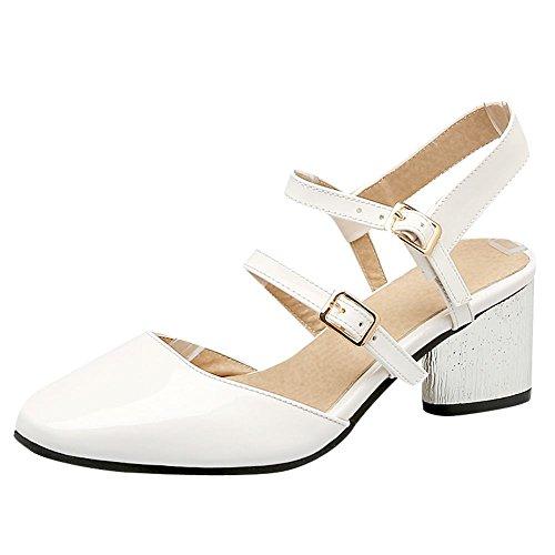 MissSaSa Damen Chunky heel slingback Knöchelriemchen Lackleder Pumps Weiß