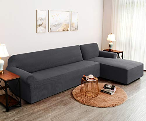 Subrtex 2 Pieces L-Shaped Couch Covers Stretch Fabric Sectional Sofa Slipcovers (Right Chaise (2 Seats), Gray)