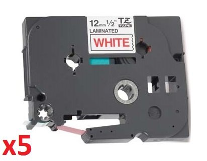 5 x Compatible TZ 12mm x 8m Label Tapes for Brother P-Touch TZe-232 TZ-232 Red on White