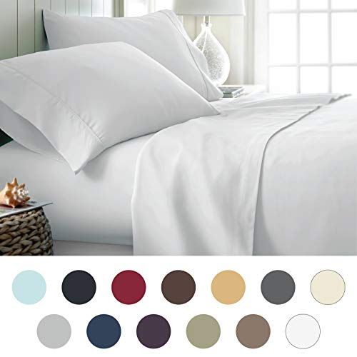 ienjoy Home Hotel Collection Luxury Soft Brushed Bed Sheet Set, Hypoallergenic, Deep Pocket, Queen, White from ienjoy Home