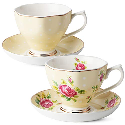 Porcelain Yellow Floral - BTäT- Floral Tea Cups and Saucers, Set of 2 (Yellow - 8 oz) with Gold Trim and Gift Box, Coffee Cups, Floral Tea Cup Set, British Tea Cups, Porcelain Tea Set, Tea Sets for Women, Latte Cups