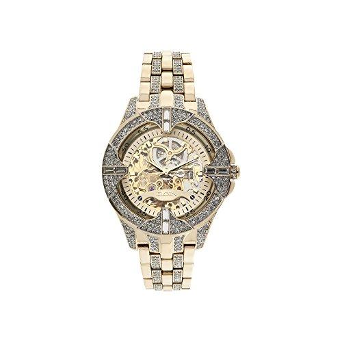 Elgin Gold Watch - Elgin Men's Crystal Bezel Transparent Automatic Skeleton Watch, Gold