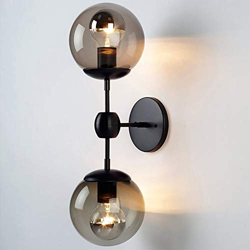 Bagood Vintage 2 Bubble Globe Glass Shade Wall Lighting Wall lamp use 2 E26 Light Bulbs Iron Glass Cafe Bedroom Wall Sconce Light