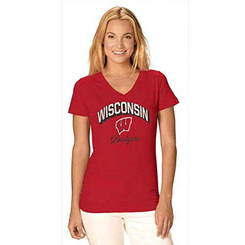 Camp David Wisconsin Badgers Womens Dedicated Fan Signature Diva V-Neck - Red, Womens Extra Large -