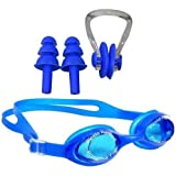 Body Maxx Swimming Goggles with Ear Plugs & Nose Clip Set