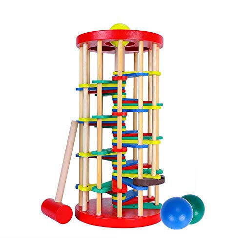 ROLENUNE Wooden Ball Drop Toy Kids Pounding Bench Hammer Pound Roll Ramp Toys Children Educational Montessori Gift for 3 4 5 Years Old Babies and Toddlers
