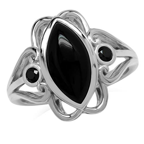 14x7MM Genuine Marquise Shape Black Onyx & Spinel 925 Sterling Silver Victorian Swirl Style Ring Size 8