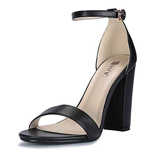 IDIFU Women's IN4 Cookie-HI Open Toe High Chunky Block Heel Pump Sandal (Black PU, 11 B(M) US)