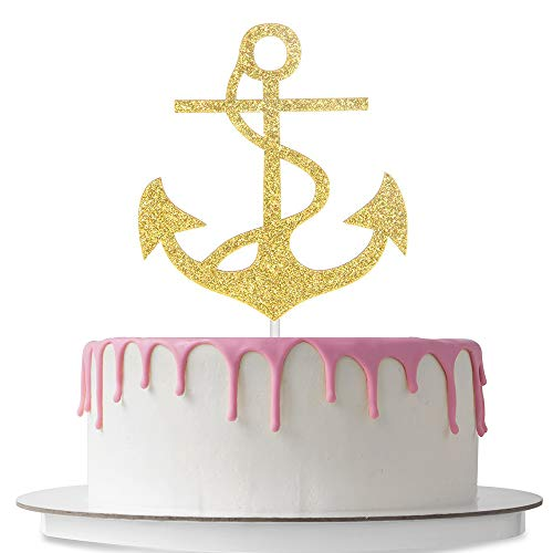 Anchor Cake Topper (Nautical Themed Cake Topper Anchor Shaped Wedding Birthday Baby Shower Party Décor Supplies Double Sided Gold)