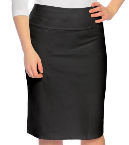 Kosher Casual Women's Modest Knee Length Stretch Pencil Skirt in Lightweight Cotton Lycra Small Black