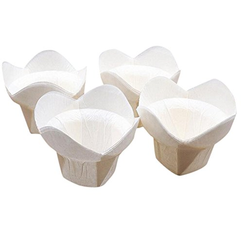 Tulip Shaped Cupcake Colored Muffin Cup Baking Paper Cups From Lesirit (500, White) by Lesirit