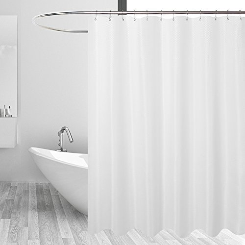 Metal Diamond Vinyl Liner - N&Y HOME Hotel Fabric Shower Curtain Liner or Shower Curtain, Mildew Resistant, Washable & Water Repellent, Diamond Patterned White, 71 x 72 inches for Bathroom